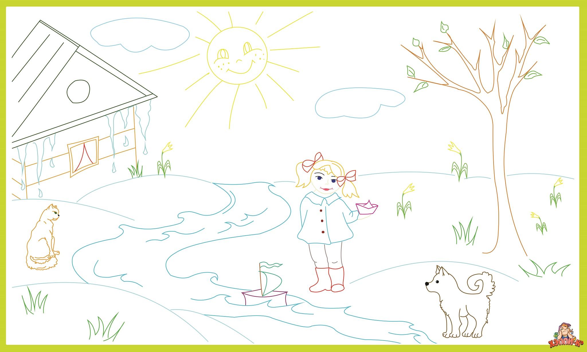 Настенная раскраска «Времена года: Весна» :: ООО «ХЭППИ-Ко ...